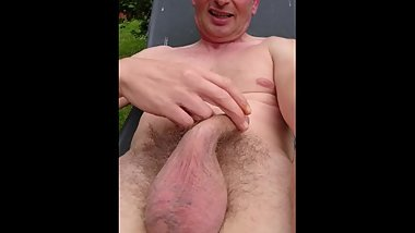 Naked outside  having a little play with my hairy cock