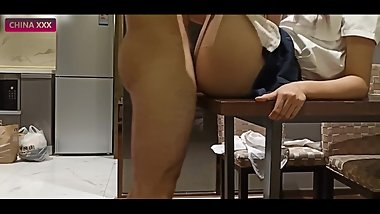 Asian School Girl Hardcore Tutoring On The Table