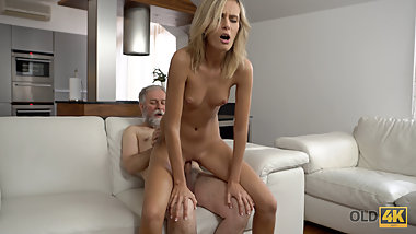 VIP4K. Passionate old and young scene in morning after a cup