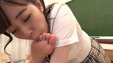school girl licks teeacher's feet