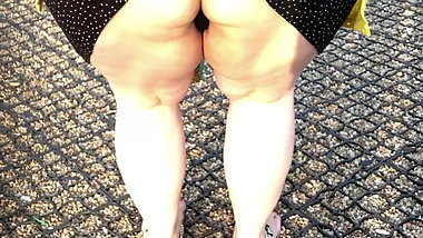 Exhibition, flashing public and stockings thong