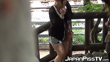 Naughty Japanese voyeur films babes peeing around town