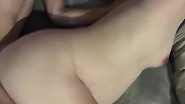 Cumshot on her pregnant stomach