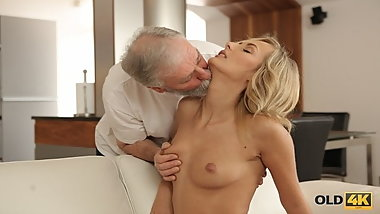 OLD4K. Mesmerizing petite model Jenny Smart fucked by old