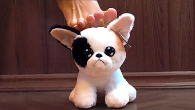 Little plush dog toy foot crush