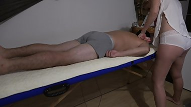 Real Massage therapist fucked while her stepdaughter listens at the door