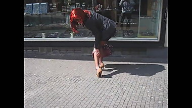Pantyhose Slut in the Street 03