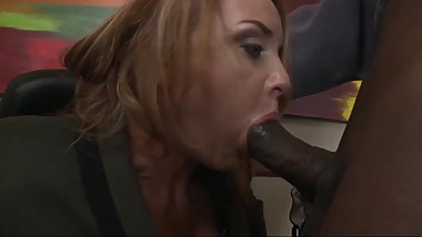 MILF boss Janet Mason fucked hard by a big black office dick