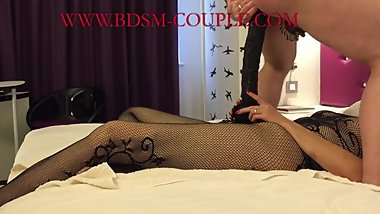 Miss M.'s slave rides her HUGE STRAPON DILDO and takes all 36 cm!