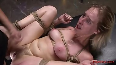 Two lusty devils fucking a tied angel