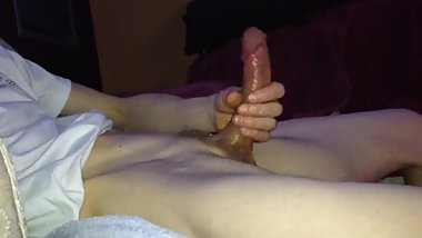 Thick hard lubed cock gets stroked fucking hard after 2 weeks no cum