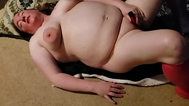 Blissful BBW needs more and gets it with her red metal vibe