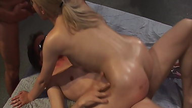 Blonde girl loves group sex