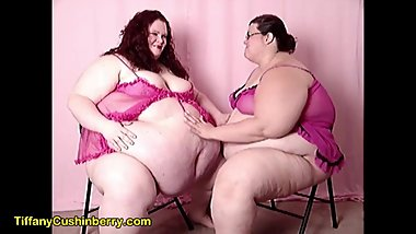 Love Our Huge Bellies - SSBBW Lesbians Rub Each Other