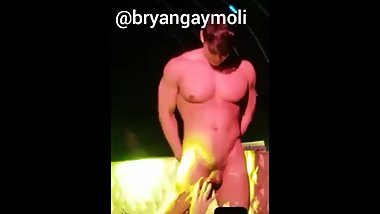 Girls Touching Strippers Huge Cock on Stage