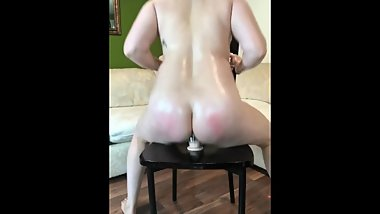 Oiled up fucking multiple dildos