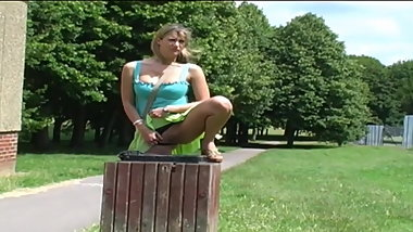 Super Hot Blonde Pissing In Garbage