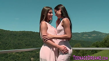 Pretty lesbians lick each other
