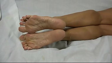 Pink french pedicure footplay