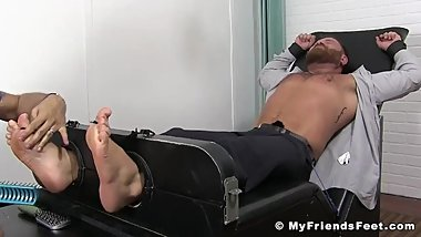Bearded businessman tickled hard while bound and helpless