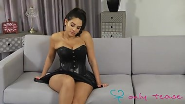 Charley S in shiny pantyhose and black dress