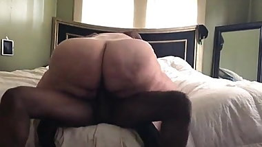 Fat ass granny riding bbc