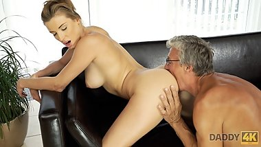 DADDY4K. Teen coquette sucks boner of old man who is her BFs