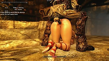 Sexy Skyrim-Dragonborn yields to the might of her ancestors.