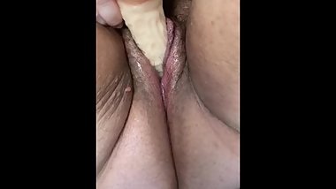 Fiancé squirting on dildo