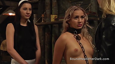 Tied Up Blonde Lesbian Slave Fingered And Kissed By Mistress