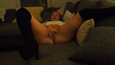 Hot Amateur Blonde Wife Fingering Her Tight Pussy.