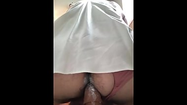 Sissy fucks a dildo while uncle is in a meeting next door