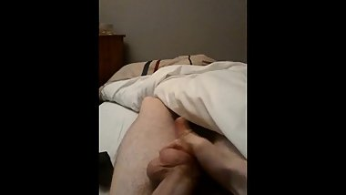 Un-cut hairy twink almost caught fingering his asshole