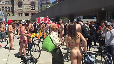 Naked Bike hairy woman