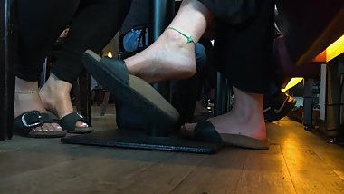 Two Sweet Blonde Birkenstock Girls Relaxing Feet 1