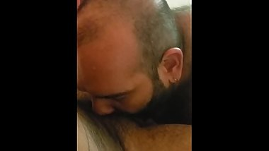 Bear sucks latino uncut cock!