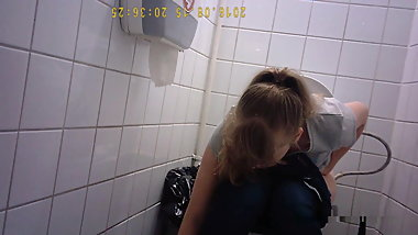 Russian college students on the toilet, view of the pussy 11