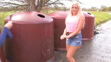 Super Hot Blonde Pissing On Garbage Container