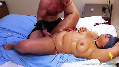 Chubby pierced FAN gets BDSM massage.. SQUIRTS! Choked HARD!