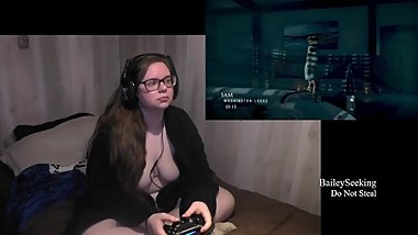 BBW Nerdy Gamer Girl Play Until Dawn Part 5