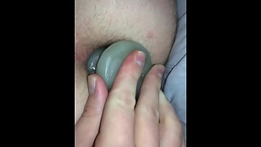 First time anal play with DIY butt plug