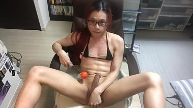 Trans slut legs-up masturbates and cums