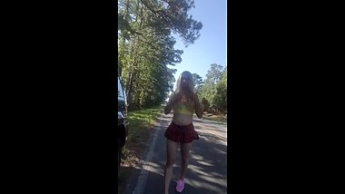 Sissy Strokes and Cums in Public Street