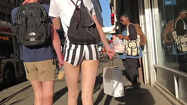 Candid sexy coed sexy ass in micro-shorts