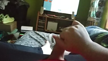 Femboy in Leggings Jerks Off and Cums