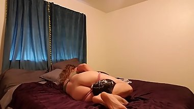 Girl humps pillow for quick orgasm