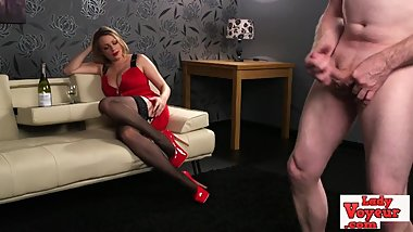 Busty british slut teasing cfnm loser