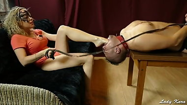Lady Kara Foot Gags The Slave