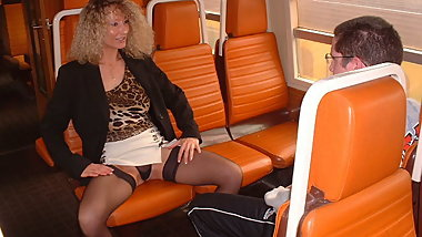Milf and virgin boy on train - amateur public sex