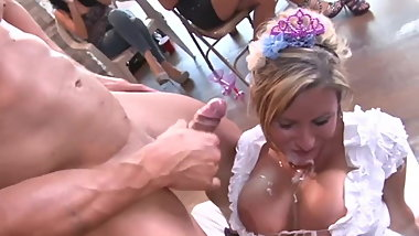 Big Tit Blonde Latina sucks Stripper